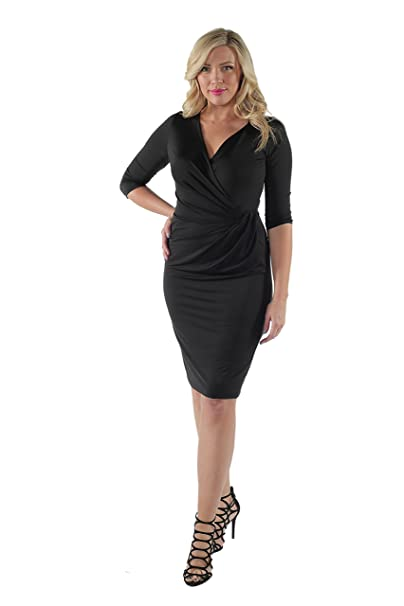 24seven Comfort Apparel Women\'s Plus Size 3/4 Sleeve Draped ...
