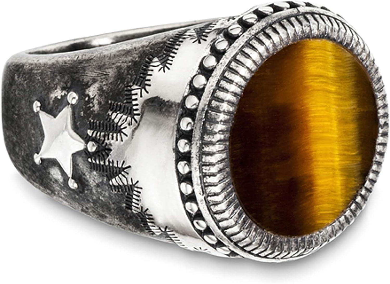 cai Herren Ring 925 Sterling Silber Geschwärzt Tigerauge weiß 5,00ctpc. 132270733