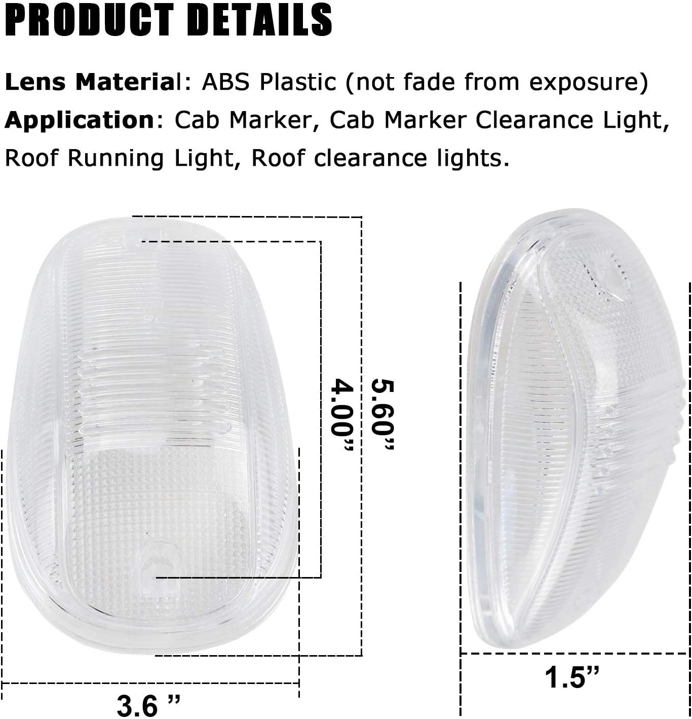 Cab Roof Marker Lights Cover for 03-16 Dodge Ram 1500 2500 3500 Clearance Running Top Lamp Clear Lens