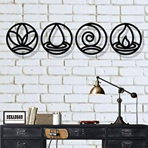 Metal Wall Art, Four Elements Metal Wall Decor, Home Decor, Interior Decoration, Metal Sign (Black)