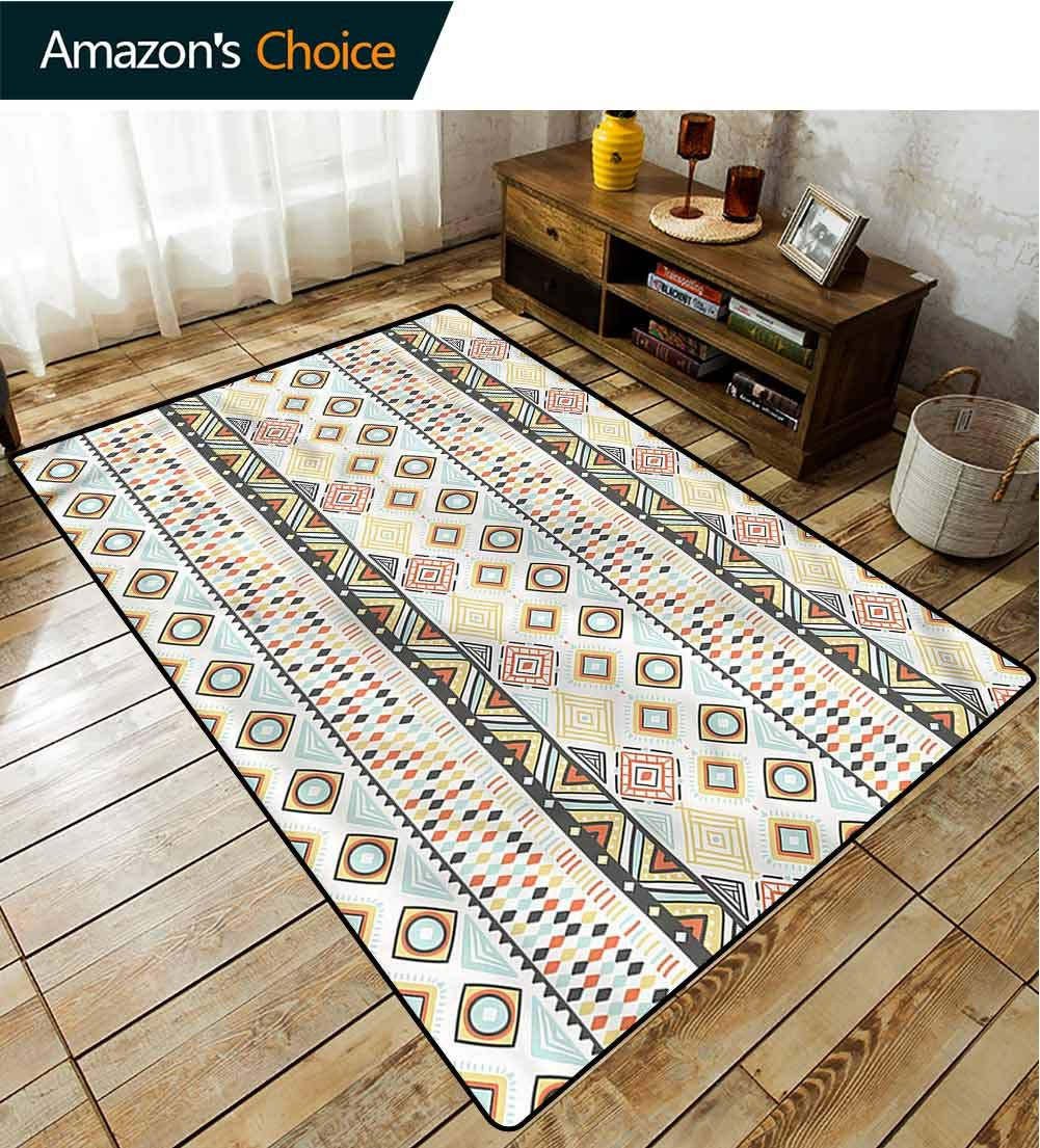 TableCoversHome Geometric Animals Door Mats Outdoors, Native Indigenous Pattern Printing Carpet, Easy Maintenance Area Rug Living Room Bedroom Carpet (2'x 6') by TableCoversHome