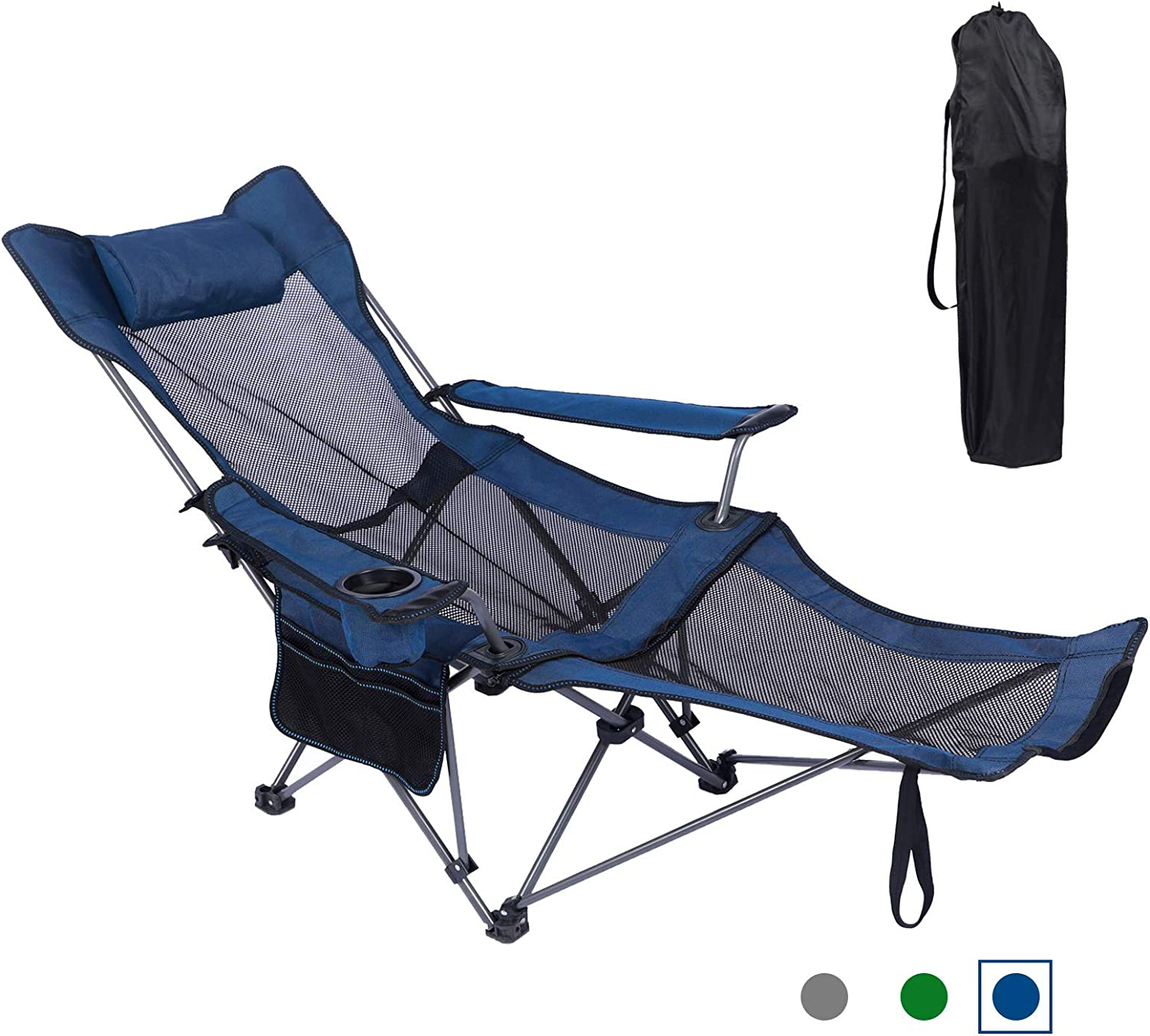 KEFOMOL Camping Lounge Chair, Portable Reclining Camping Chair, Folding Camping Chair with Footrest,Headrest & Storage Bag,Mesh Recliner with Backpack, 300lbs Weight Capacity