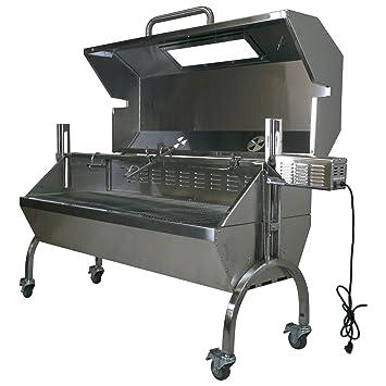Asador grill horno asador cristal campana 25 W 125lb capacidad de acero inoxidable barbacoa + libre