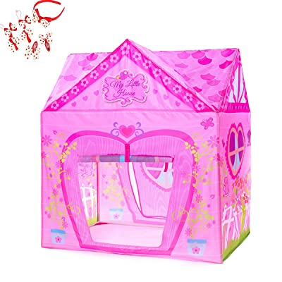 Kids Tent Princess Pink Flower Play Tent for In...