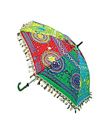 ab3f2feed1f73 Amazon.com: Indian Handmade Cotton Sun Umbrella For Women