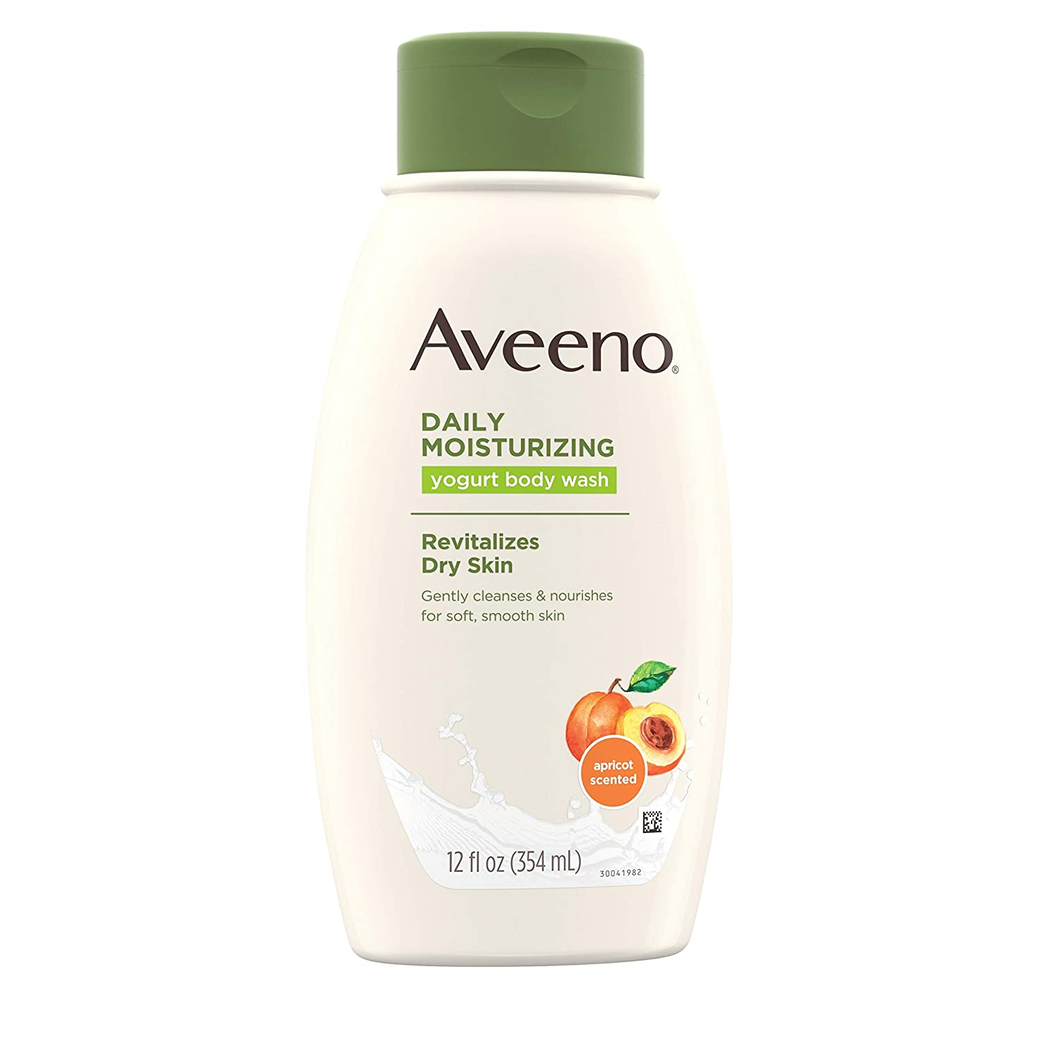 Aveeno Daily Moisturizing Yogurt Body Wash with Soothing Oat Apricot Scent, Gentle Soap-Free Body Cleanser for Dry Skin, Dye-Free Hypoallergenic, 12 fl. oz