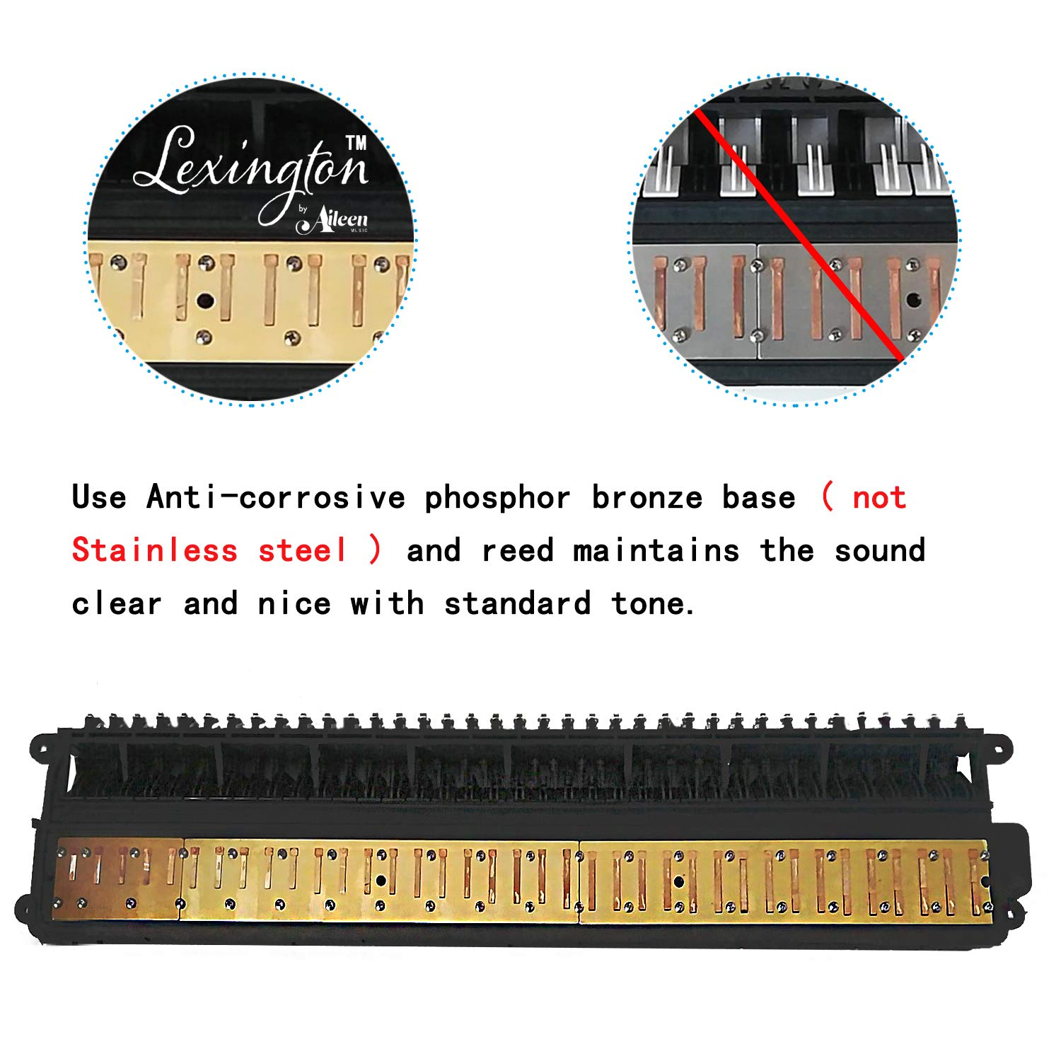 32 Piano Keys Melodica Made of Bronze Base and Reed, Package Includes 1 Carrying Case,1 Short, 2 Long Mouthpieces by Aileen (Image #2)