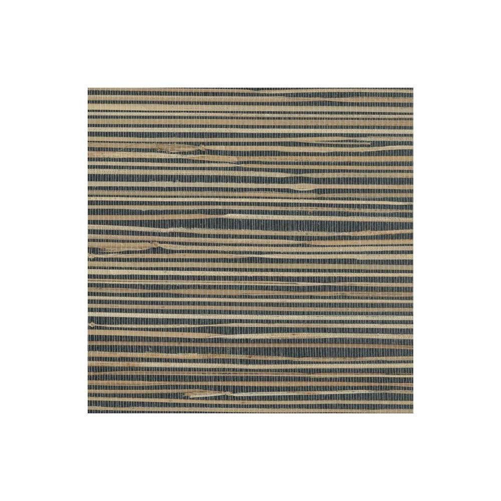 York Wallcoverings NZ0786 Grasscloth Wallpaper by River Grass, Black, Cream, Beige, Khaki, Tan