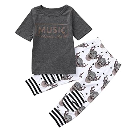 14c1828d8 Amazon.com: Jchen(TM) Clearance! Toddler Baby Kids Little Boys Summer  Letter Print Tops+ Deer Head Print Pants Outfits for 0-4 Years Old (Age:  2-3 Years ...