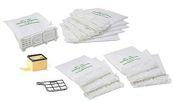 DREHFLEX® - Alternativa para aspiradoras Vorwerk – Set de 14 piezas: 12 bolsas de fibra + 1 filtro HEPA + 1 filtro de motor para aspiradoras Kobold ...