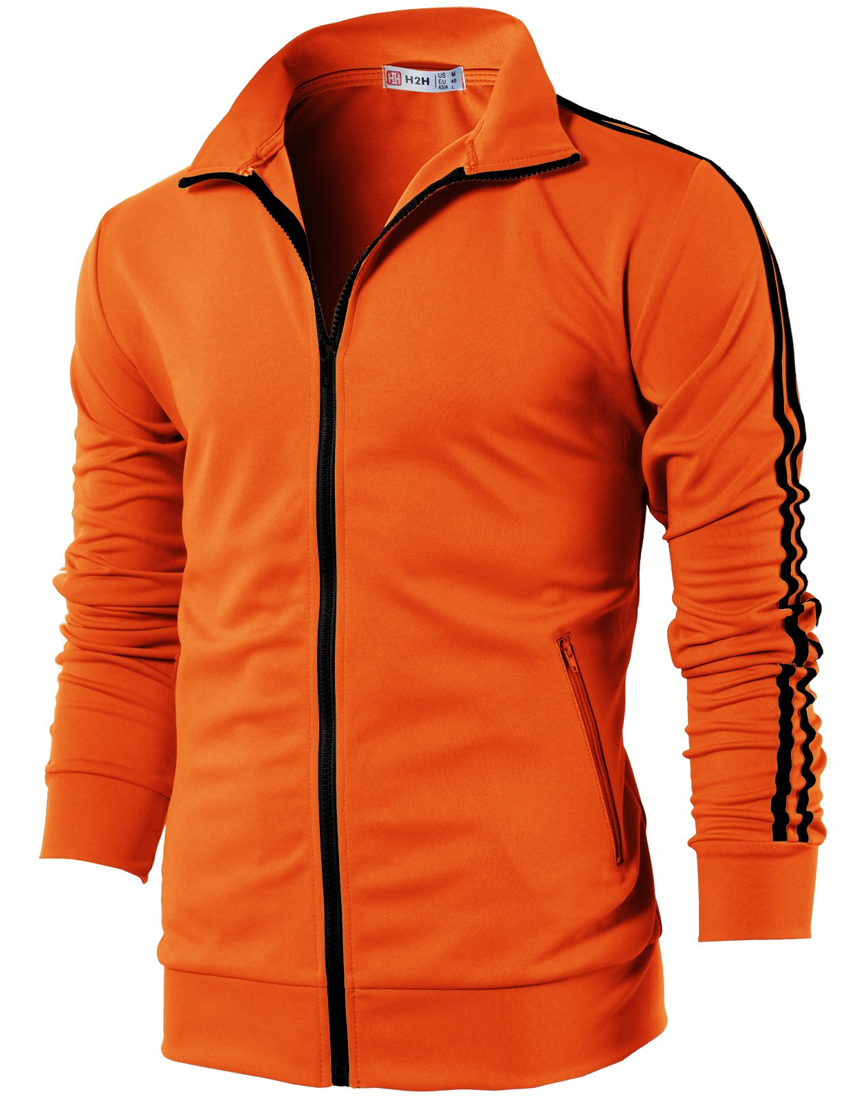 H2H Mens Workout Slim Fit Lightweight Line Training Full Zip-up Jacket Orange US L/Asia XL (CMOJA0103)
