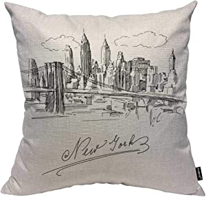 HOSNYE New York Cotton Linen Throw Pillow Case Hand Drawn Metropolis Skyline Downtown Futuristic Pillow Cushion Covers Home Sofa Decorative 18 X 18 Inch