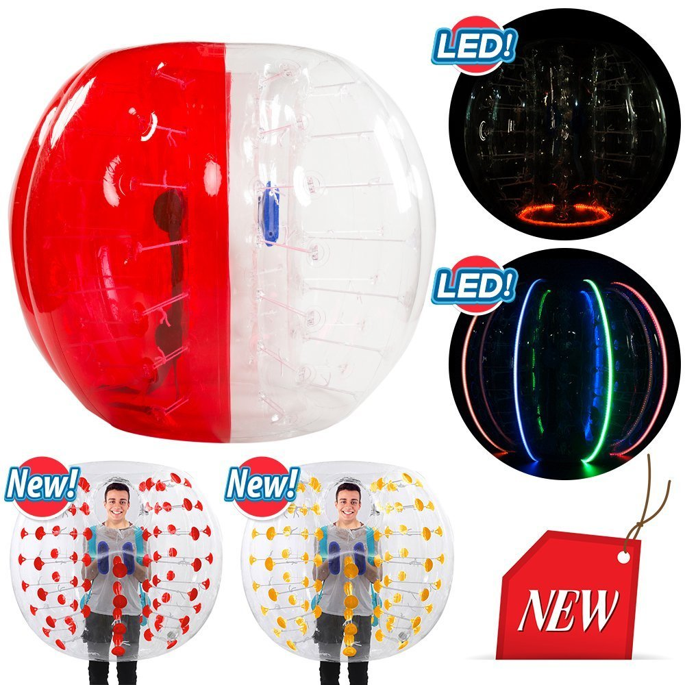 SELF 5ft Diameter, Bubble Soccer Ball, Human Hamster Zorb Ball for Kids Adults Parties Rentals (Red and Clear)