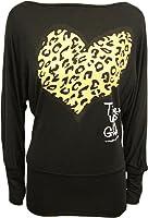 nouvelles femmes plus la taille léopard coeur sommets manches longues chauve-souris ample slouch