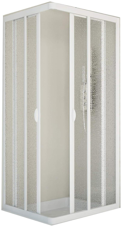 Duschakbine Eckeinstieg Acrylglas in weiß Größe 80 x 80 cm kürzbar um 5 cm Forte/Modenplast