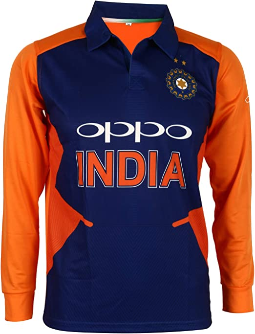 KD Cricket India Jersey Full Sleeve Cricket Supporter T-Shirt New Oppo Team Uniform Polyster Fit Material 2019-20 Kids to Adults