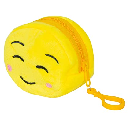 Chords Mini Plush Blush Face Emoji Coin Pouch with Zipper & Plastic ...