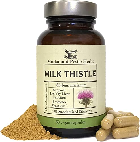 Mortar and Pestle Herbs – Pure Milk Thistle Capsules – Extra Strength 80 Silymarin Herbal Supplement – Made with Organic Milk Thistle – Liver Support – Vegan and GMO Free – Made in The USA