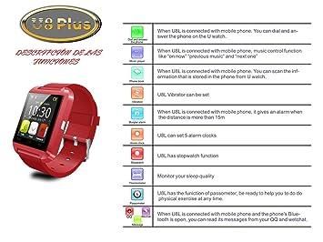 FLYSHOP®U8 Plus whatsapp smartwatch Reloj inteligente táctil compatible con Android e iOS Bluetooth 4.0