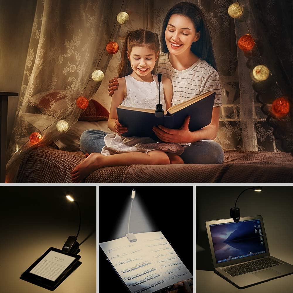 SKYEE Luz de Lectura para Libro Flexo de Pinza Recargable LED L/ámpara Ebook 7 Luces LED 3 Niveles de Intensidad USB Cable de Carga Incluido Luz Port/átil Clip para Lectores Noche