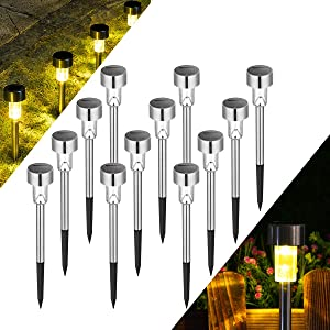 Solpex Solar Lights Outdoor Pathway,12 Pack Solar Walkway Lights Outdoor,Garden Led Lights for Landscape/Patio/Lawn/Yard/Driveway-Warm White (Stainless Steel)