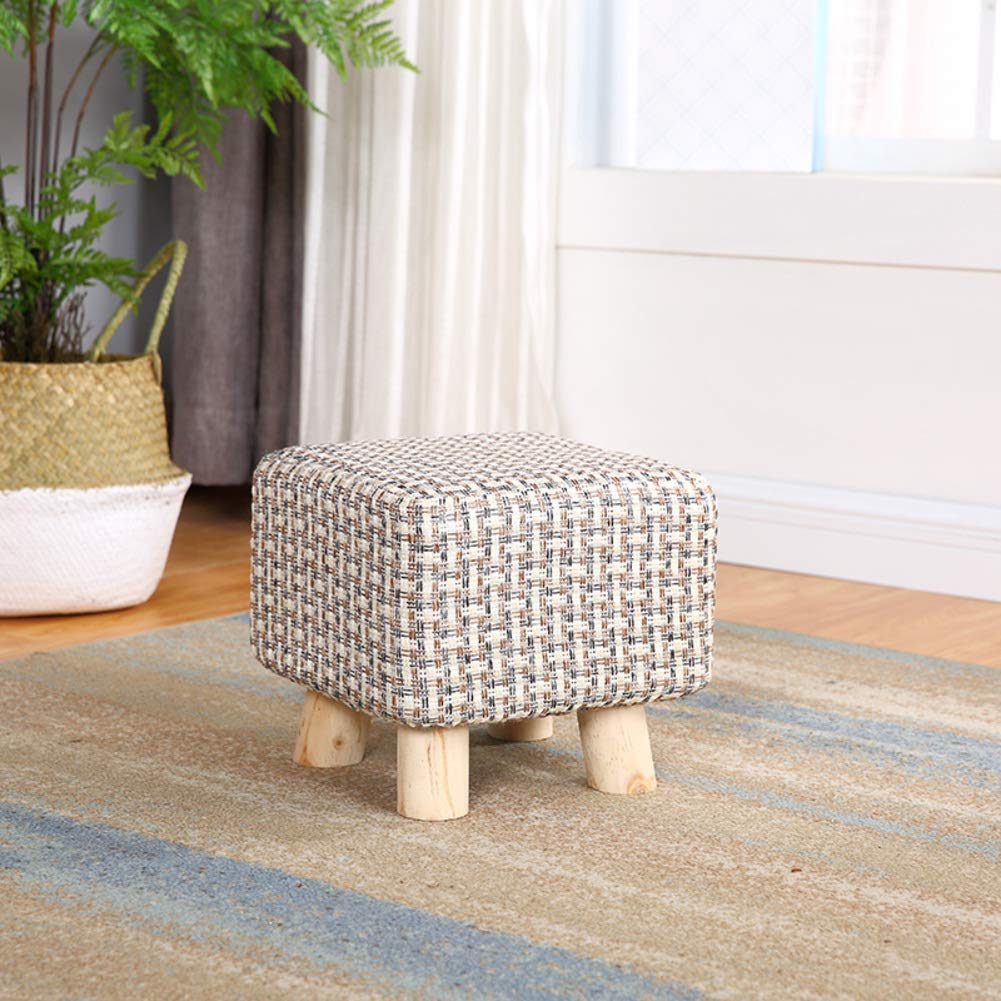 JiaQi Ottoman Bench,Creative Foot stools,Cloth Sofa Stool Adults and Kids Small Bench Solid Wood Change Shoe Bench-L 25x25x23cm(10x10x9inch) by JiaQi (Image #1)