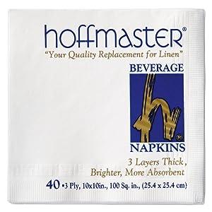 Hoffmaster 740940 Beverage Napkin, 3-Ply, 1/4 Fold, 10