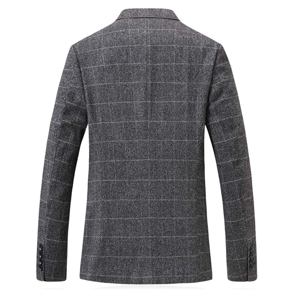 Botrong Men's Solid Color Plaid Long Sleeve Casual Suit Slim Fit Coat (XL) Gray by Botrong