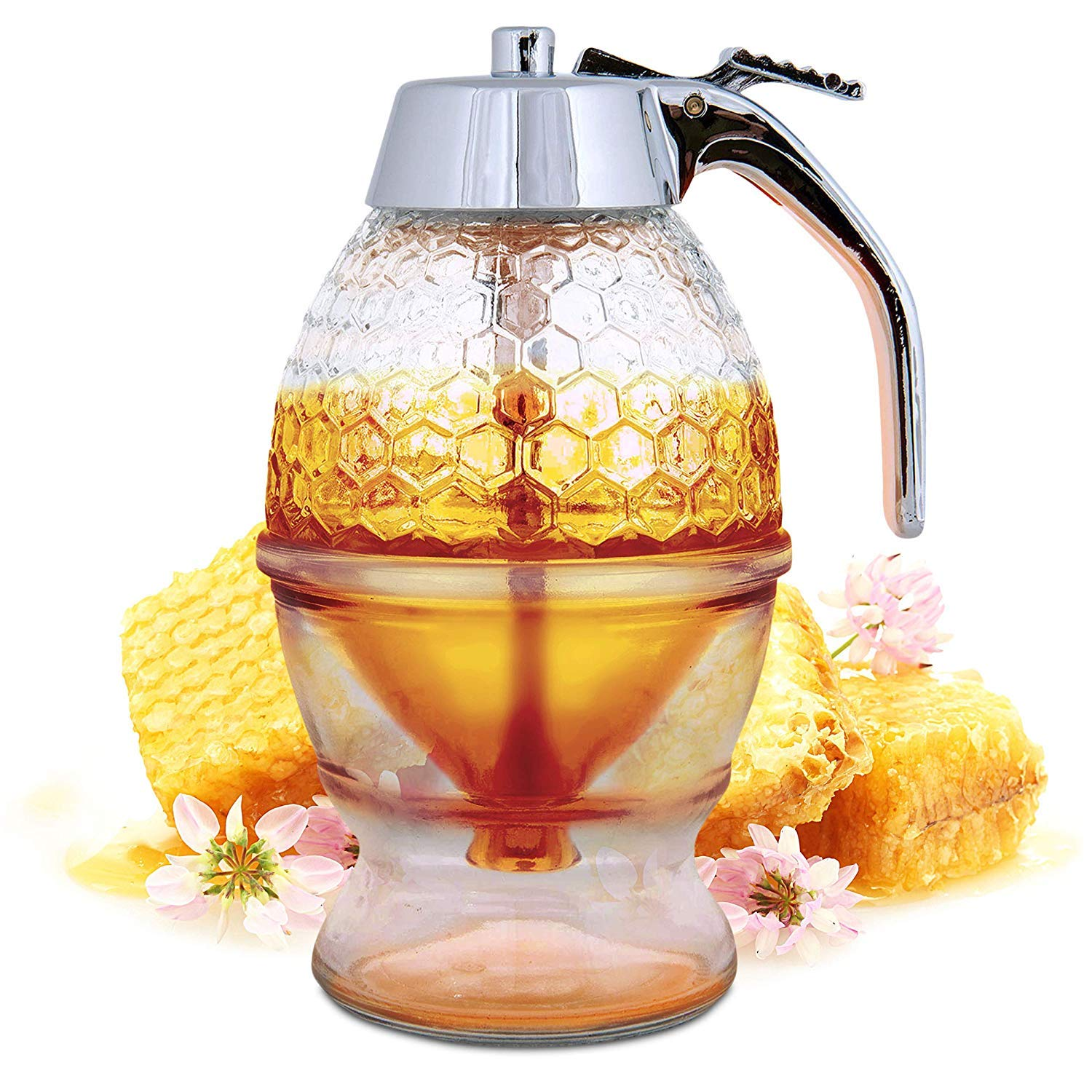 Honey Dispenser No Drip Glass - Maple Syrup Dispenser Glass - Beautiful Honey Comb Shaped Honey Pot - Honey Jar with Stand, Great Bee Decor by Hunnibi