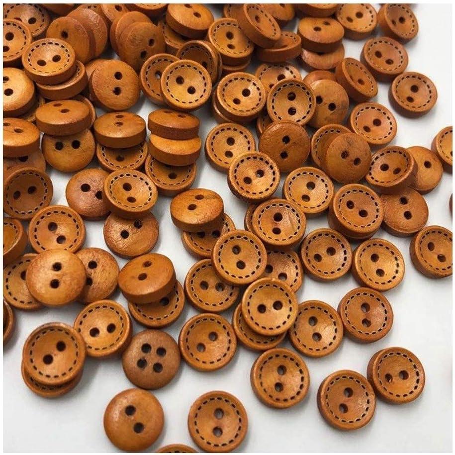 Color : 100 pcs Couture Scrapbooking Craft Boutons Outils De Bricolage 9 Mm ATEYC Bouton Rond Brun 2 Trous Boutons en Bois