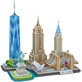CubicFun 3D Puzzles for Adults Newyork Cityline Architecture Building Model Kits Collection Toys Gift Keepsake for Men and Women, statue of liberty, Empire State Building, Chrysler Building 123 Pieces