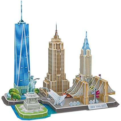 CubicFun 3D Puzzles Newyork Cityline Building Model Kits Collection Toys  for Adults and Children, MC255h-0