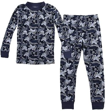 PLove Kids Two Piece Organic Cotton Pajamas Little Boys Toddler PJs Pants Shirt Blue Camo 2T