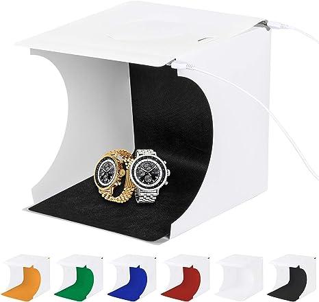 Caja de Luz Fotografía para Estudio Fotográfico,Photo Studio Light Box Fotografía con 2 Tiras de LED 6000-6500K,6 Fondos de Colores, Portátil,Fácil de Instalar: Amazon.es: Electrónica