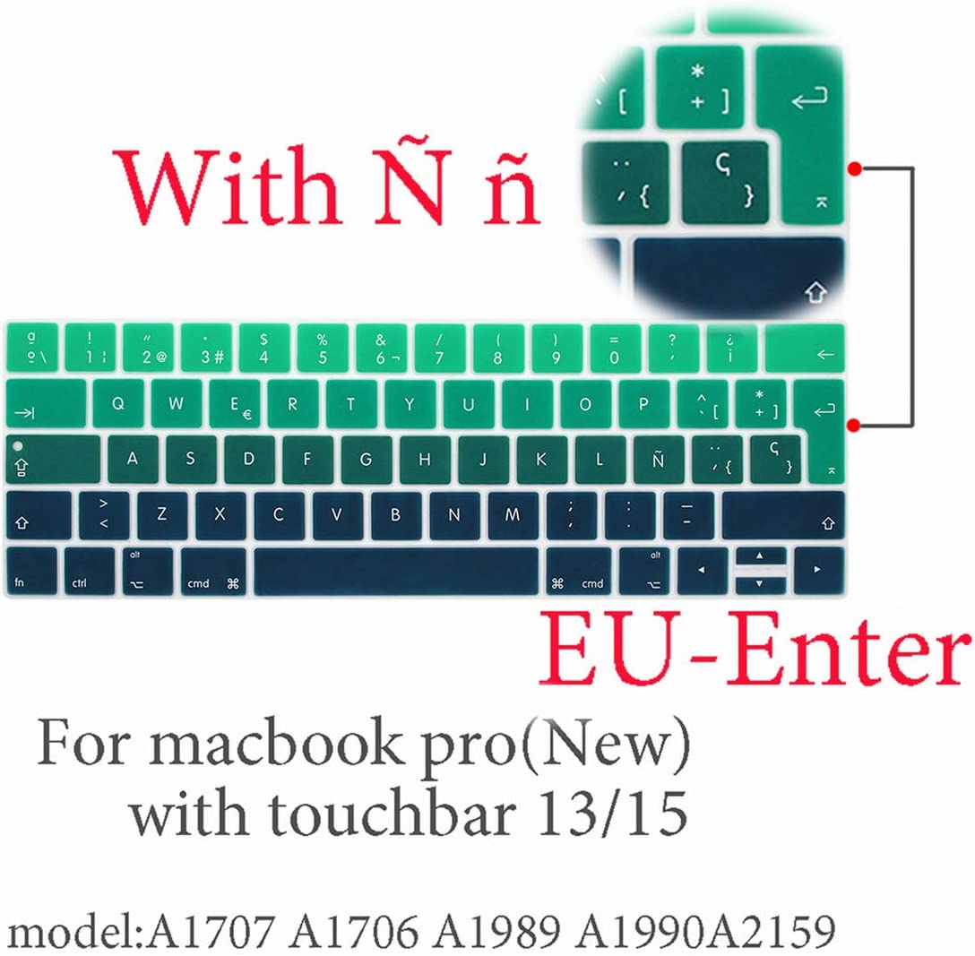 2018 Spanish Laptop Keyboard Cover Protector for MacBook Pro 13 A2159 Touchbar A1706//A1466 A1707//A1990//A1398//A1534//A1932 EU Key,Air13 EU-Enter