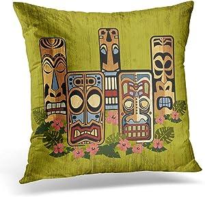 antoipyns Throw Pillow Cover-Hawaiian Tiki Retro 1950s Atomic Age Decorative Pillow Case Home Decor Square(18x18 Inches) Pillowcase