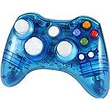 Wetoph XBOX 360 Wireless Controller, GD02 Nachleuchten PC-Controller Transparente Gamepad mit 8 LED-Leuchten Unterstützung Xbox 360 und PC (Windows XP/7/8/10) blau