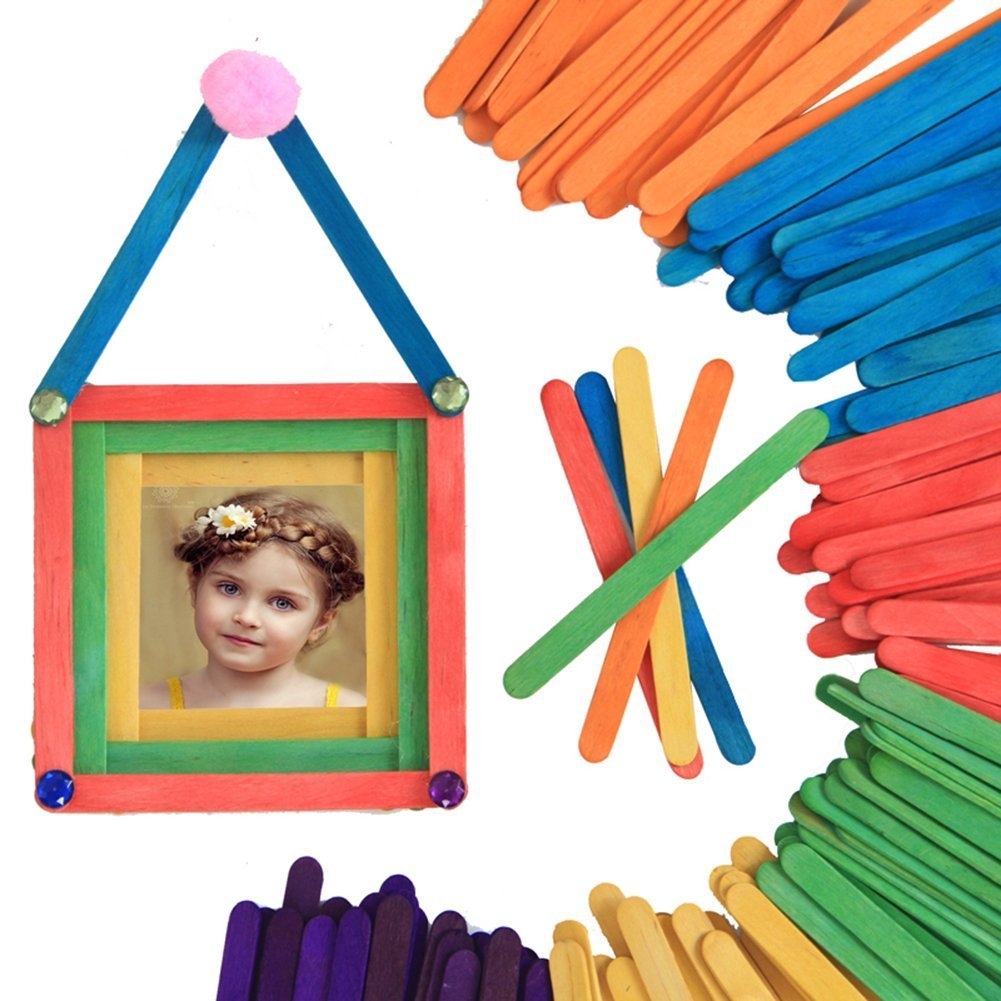 400 Pcs Colored Wood Craft Popsicle Sticks for DIY Creative Designs 4.5 Inch