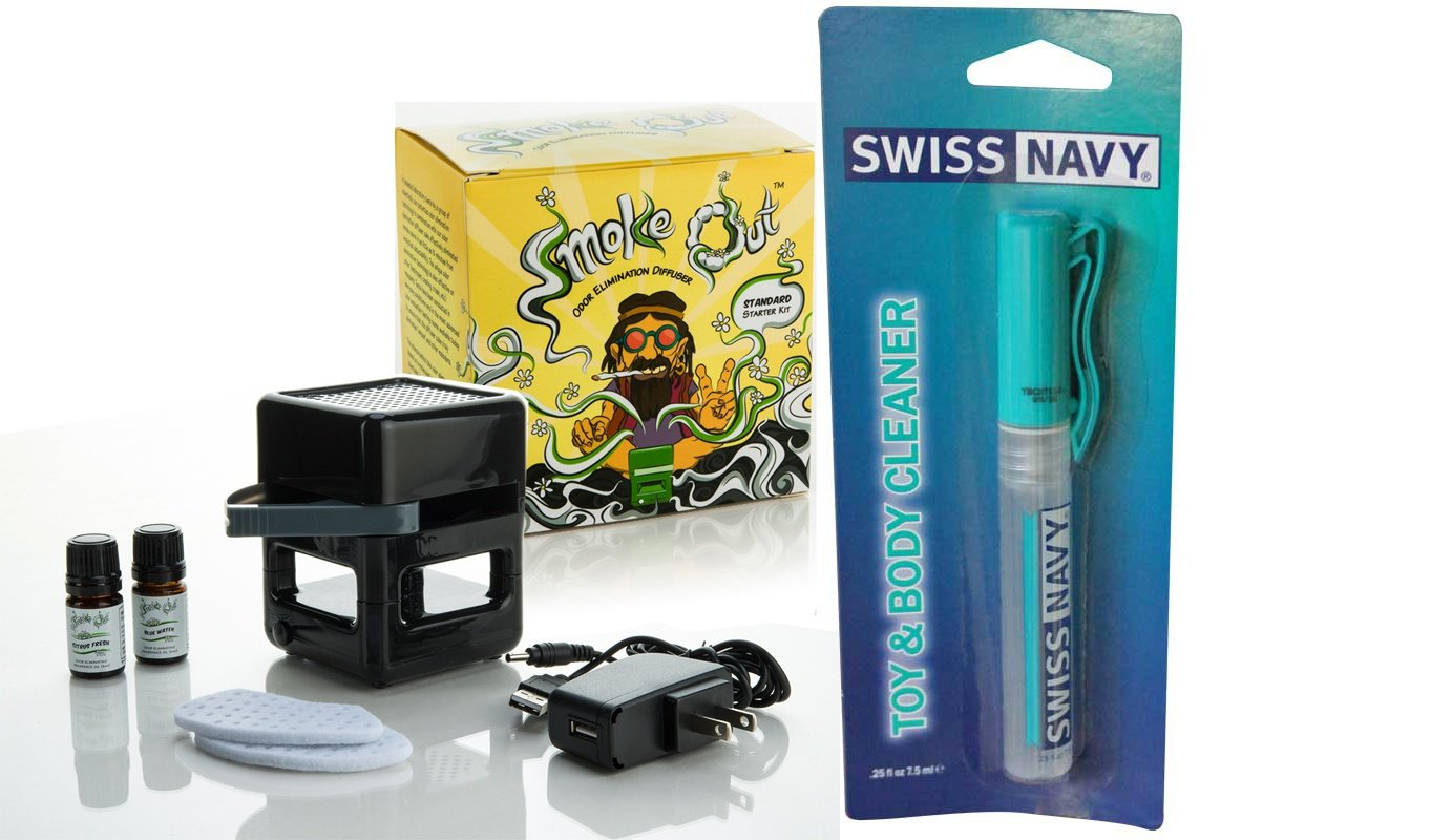 Bundle package 1 Smoke Out Odor Eliminating Diffuser DP AND 1 Swiss Navy Toy & Body Cleaner Pen 7.5ml by SI Novelties