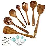 Wooden Spoons for Cooking Wooden Kitchen Utensil Set Nonstick Wooden Cooking Utensil Set Non Scratch Natural Teak Wooden Uten