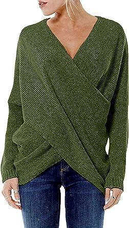 YOINS Jersey Punto Mujer Invierno Suéter Cuello en V Jerséis Manga Larga Camiseta Basico Suelto Cruzado Jerseys Camisa Tops Pull-Over Suéter Mujer ...