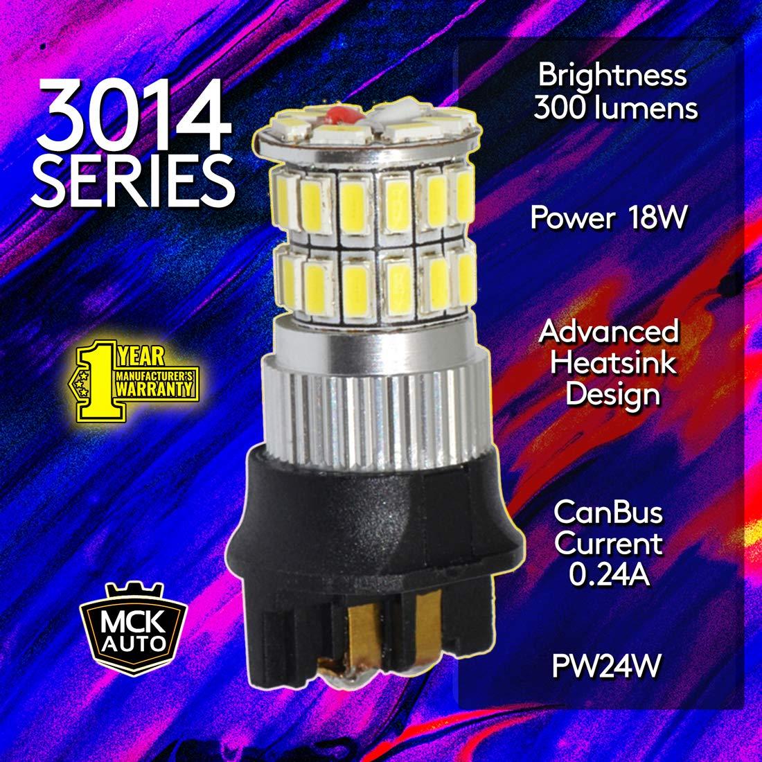 MCK Auto Sostituzione per LED CanBus PW24W Set di lampadine bianche molto chiare e senza errori compatibili con la Serie 3 CC