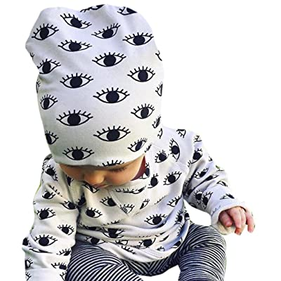 Goodlock 3Pcs Infant Baby Boy Girl Eyes Print Tops+Pants+Hat Outfits Set Clothes