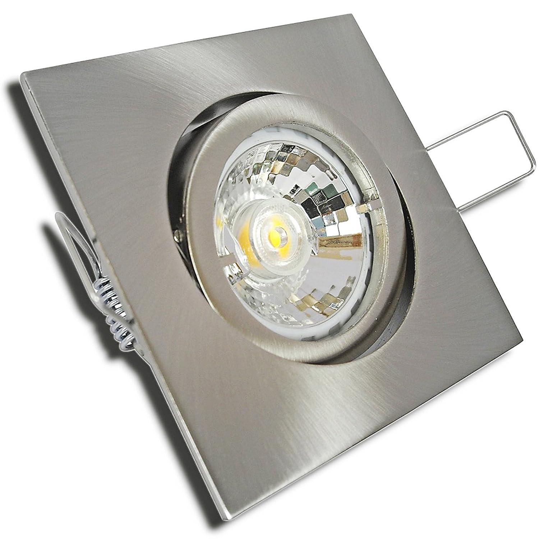 5 Stück MCOB Modul Einbaustrahler Cube 230 Volt 5 Watt Schwenkbar Edelstahl geb.   Neutralweiß