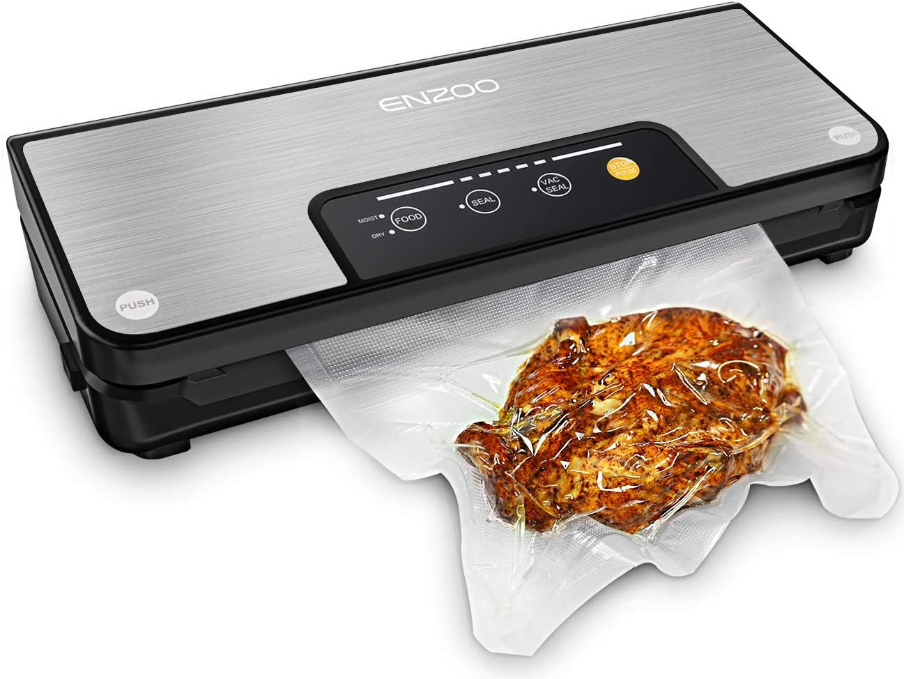ENZOO Vacuum Sealer Machine, Automatic Vacuum Air Sealing System for Food Preservation with Built-in Cutter w/Starter Kit|Led Indicator Lights|Easy to Clean|Dry & Moist Food Modes