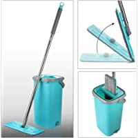 Smile Mom Easy Flat Mop Stick Rod with Bucket Set in Offer for Wet & Dry Use, Best 360 Degree Spin Magic Floor Cleaning for Home + Office and 2 Refill Washable Head