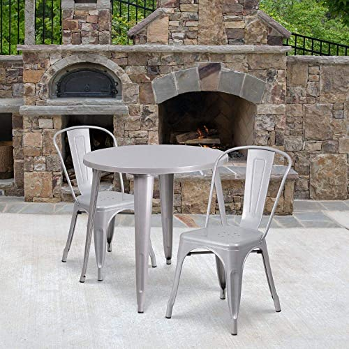 Flash Furniture Commercial Grade 30″ Round Silver Metal Indoor-Outdoor Table Set