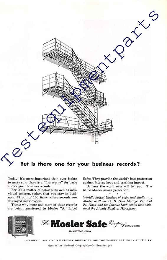 Amazon Com Print Ad 1951 Mosler Safe Company Hamilton Ohio Posters Prints