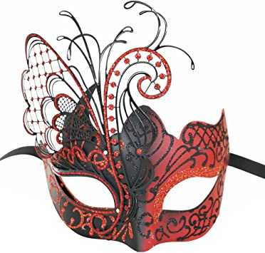 Rojo Flying Butterfly Máscara de metal veneciano Disfraz de fiesta ...