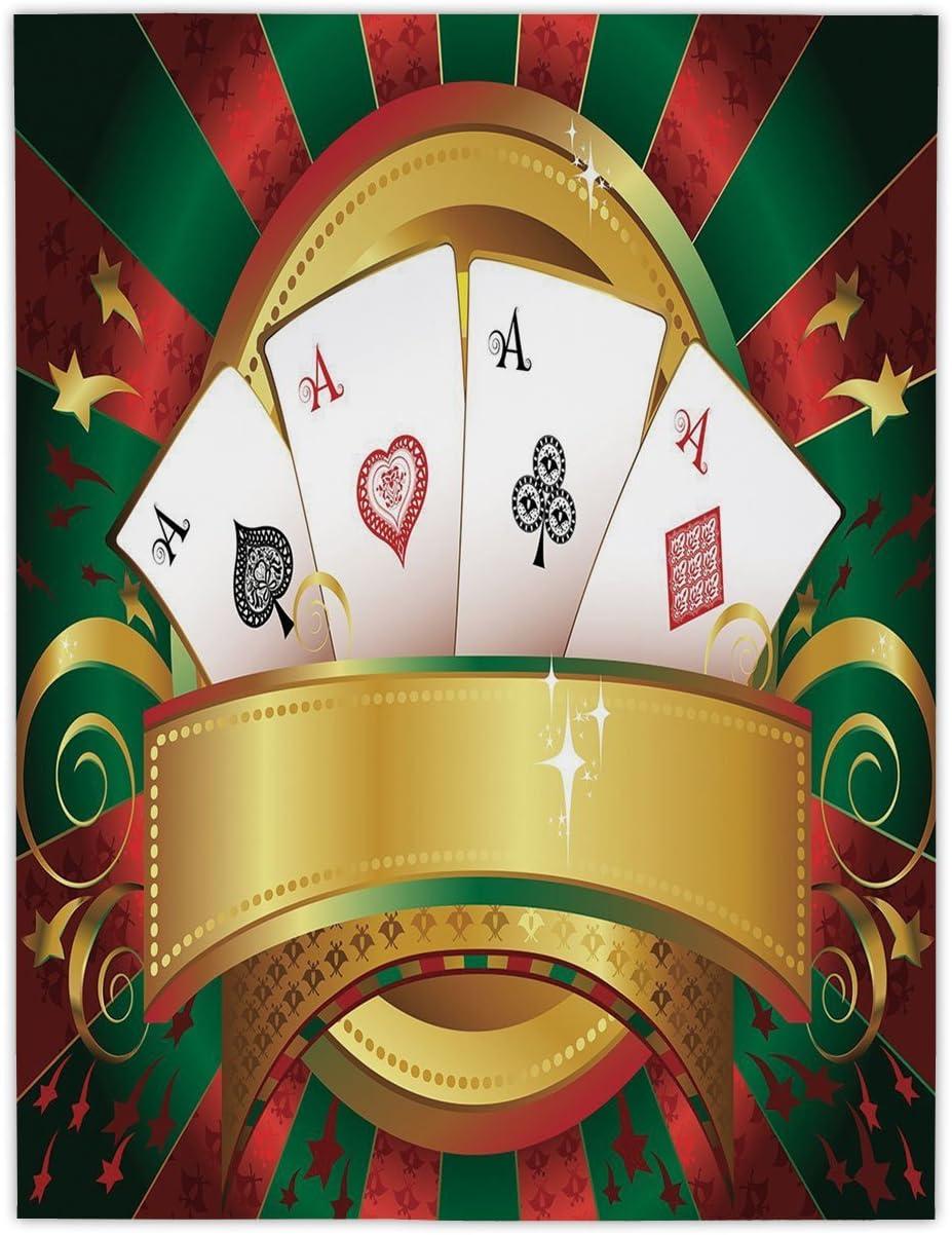 iprint Mantel Rectangular de satén, diseño de póquer, para Jugar a la Fortuna y Jugar a Juegos, Hecho a Mano, diseño de Ruleta de Casino, Multicolor: Amazon.es: Hogar